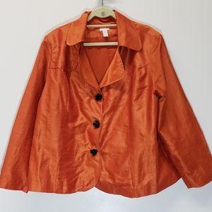 Chicos Orange Button-Up Blazer Brown Buttons XXL